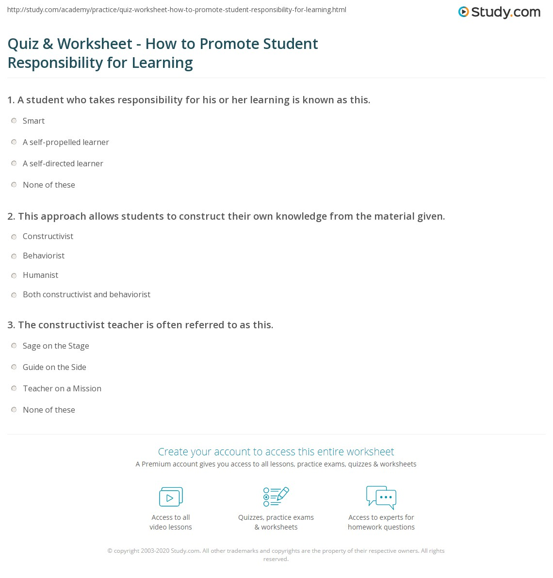 Quiz & Worksheet - How to Promote Student Responsibility for ...
