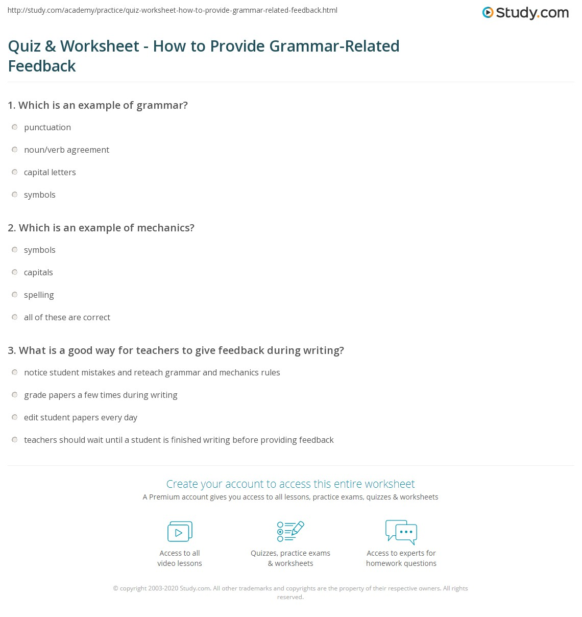 Quiz Worksheet How To Provide Grammar Related Feedback Study