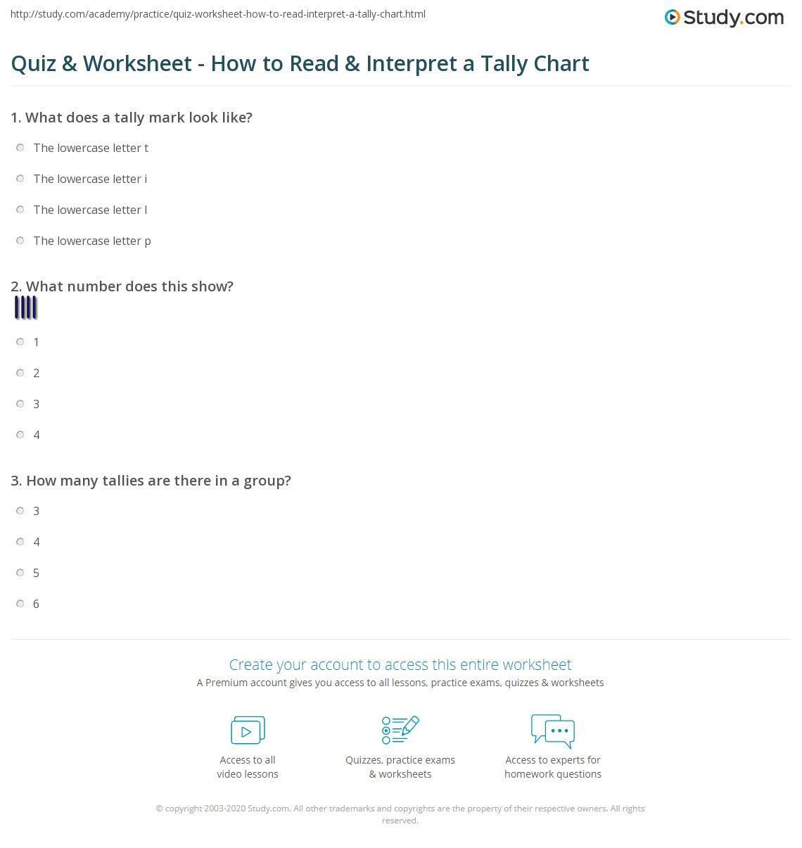 worksheet Tally Chart Worksheets quiz worksheet how to read interpret a tally chart study com print reading interpreting charts worksheet