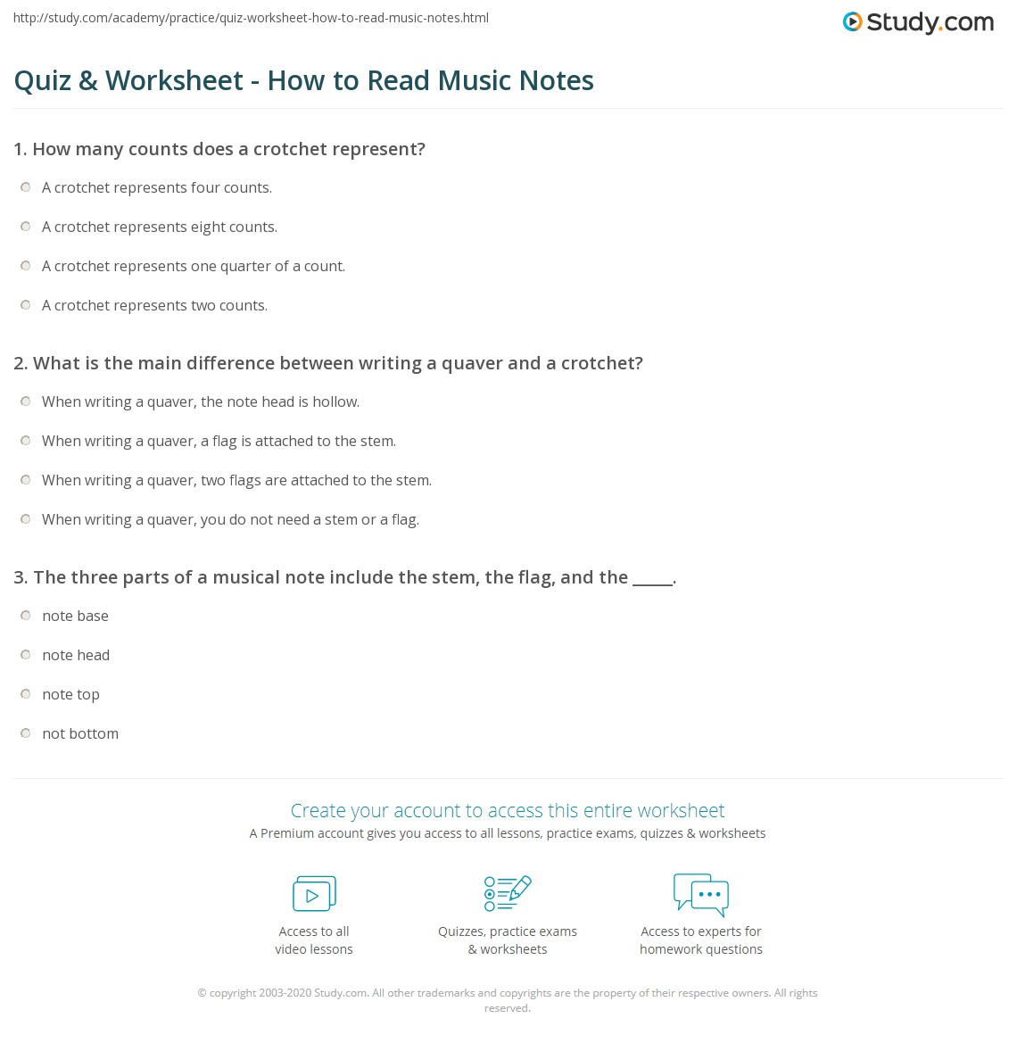 Quiz Worksheet How To Read Music Notes Study