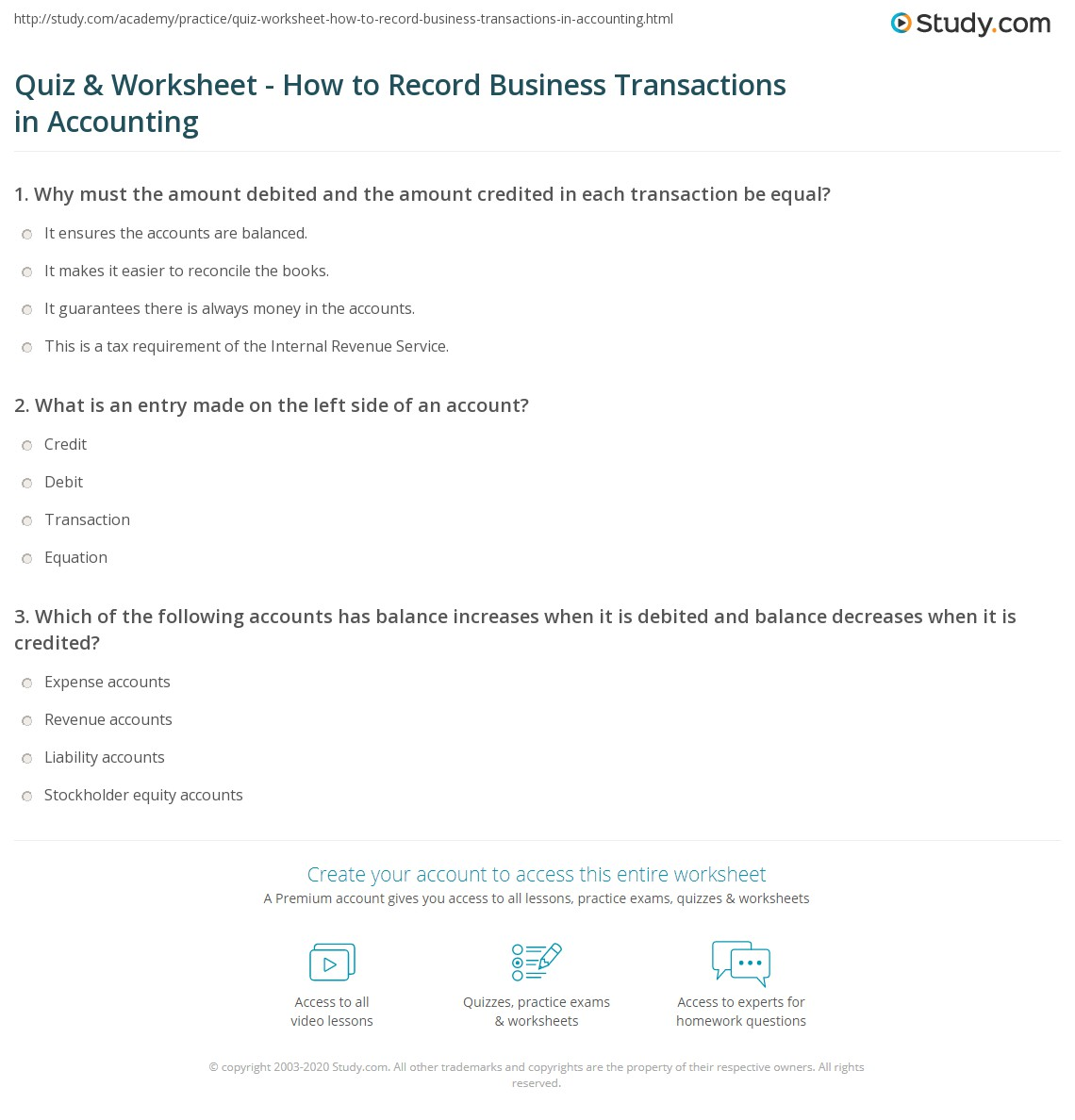 quiz worksheet how to record business transactions in accounting