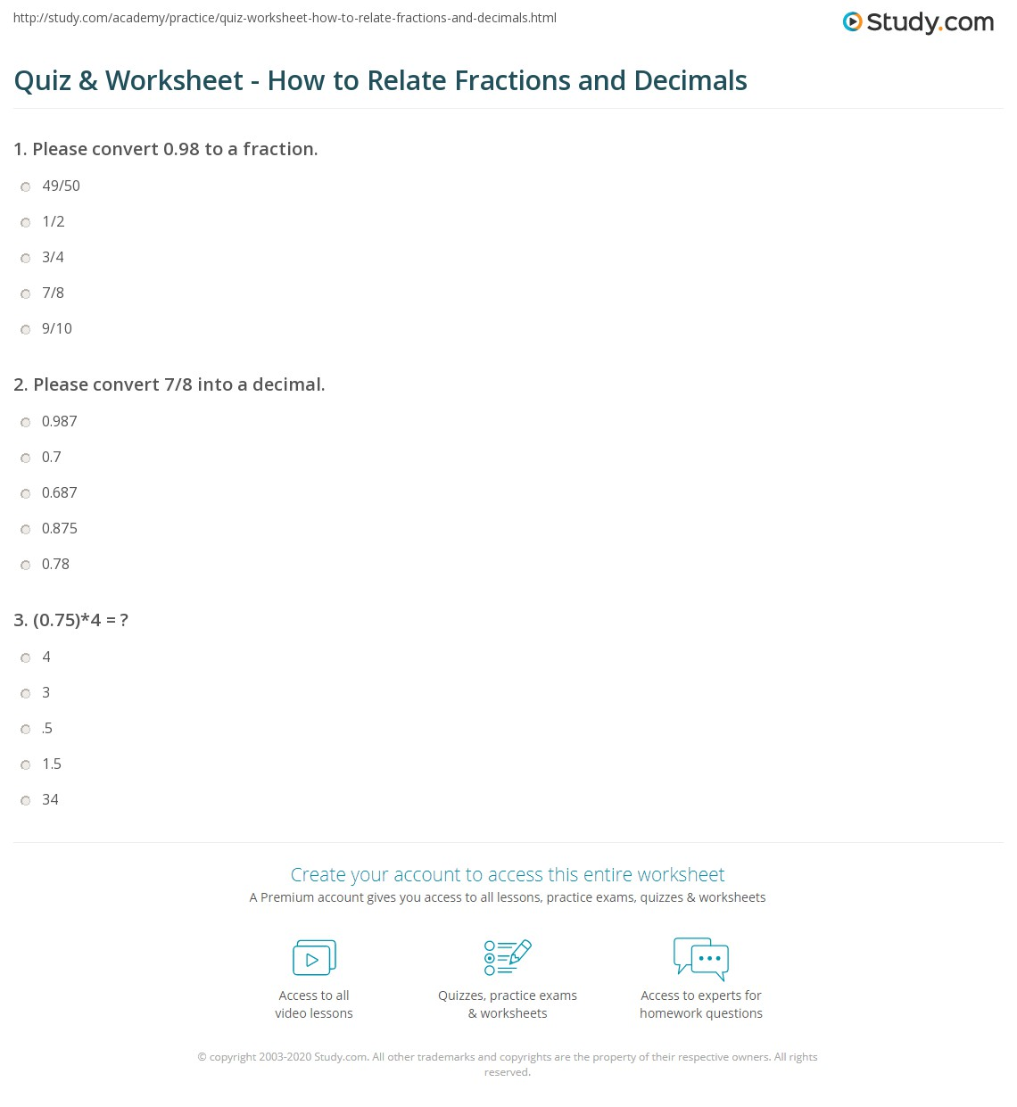worksheet Free Pythagorean Theorem Worksheet Quiz & Worksheet - How to Relate Fractions and Decimals | St