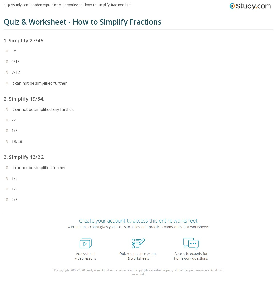 quiz & worksheet - how to simplify fractions | study