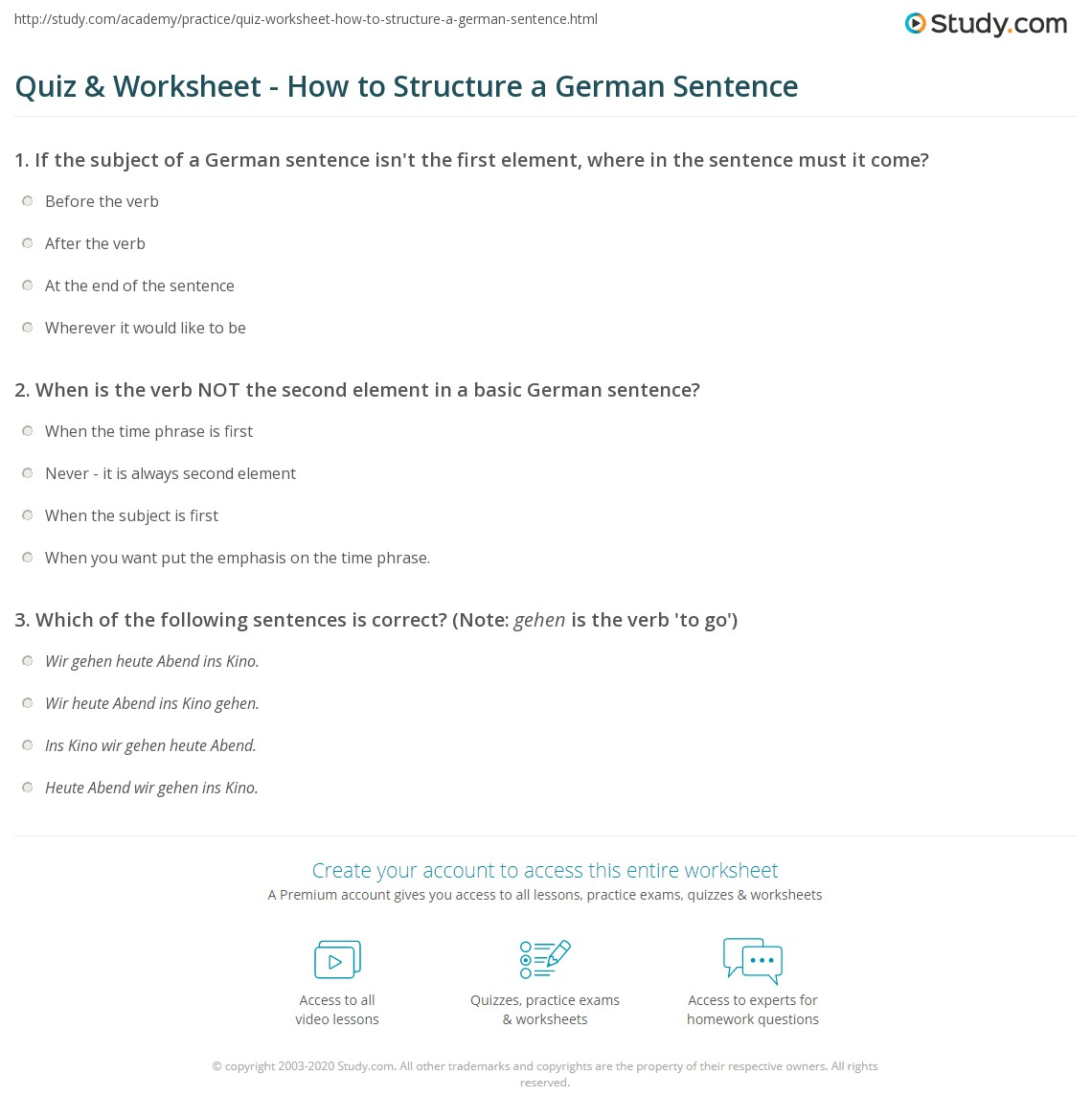 Quiz Worksheet How to Structure a German Sentence – Sentence Structure Practice Worksheets