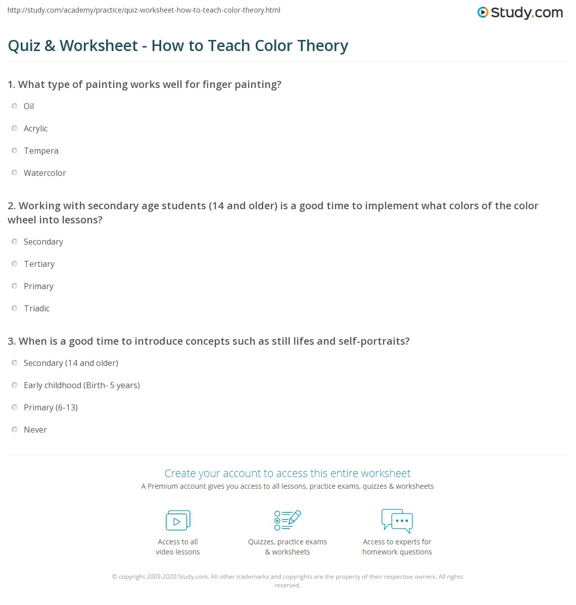 Quiz and Worksheet How to Teach Color Theory – Color Theory Worksheet