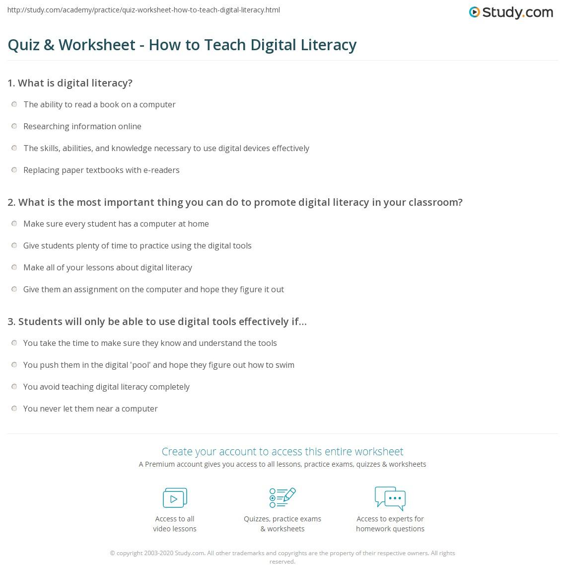 Uncategorized Literacy Worksheets quiz worksheet how to teach digital literacy study com print teaching in the classroom worksheet