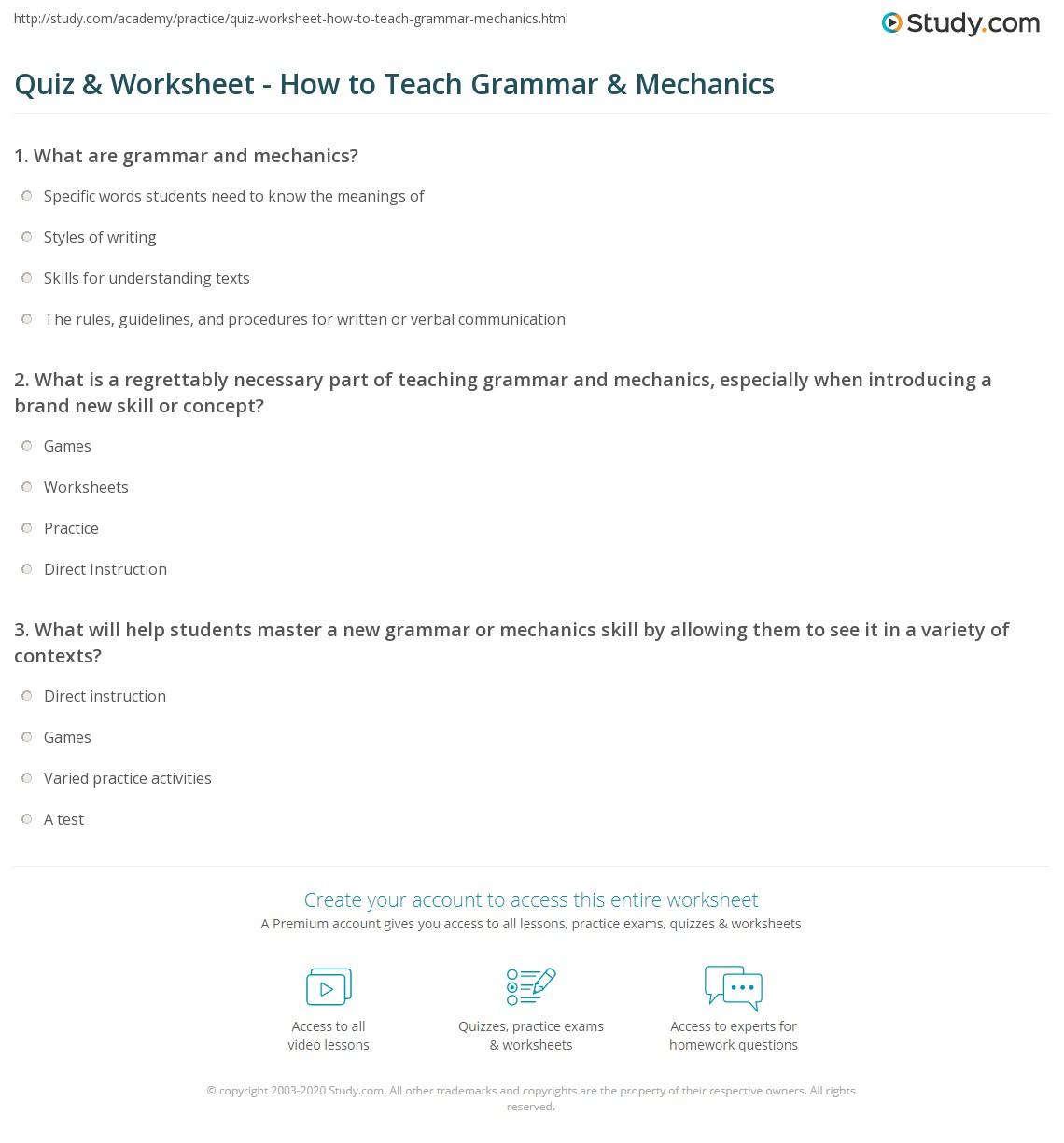 Worksheets Grammar Mechanics Worksheets quiz worksheet how to teach grammar mechanics study com print teaching techniques strategies worksheet