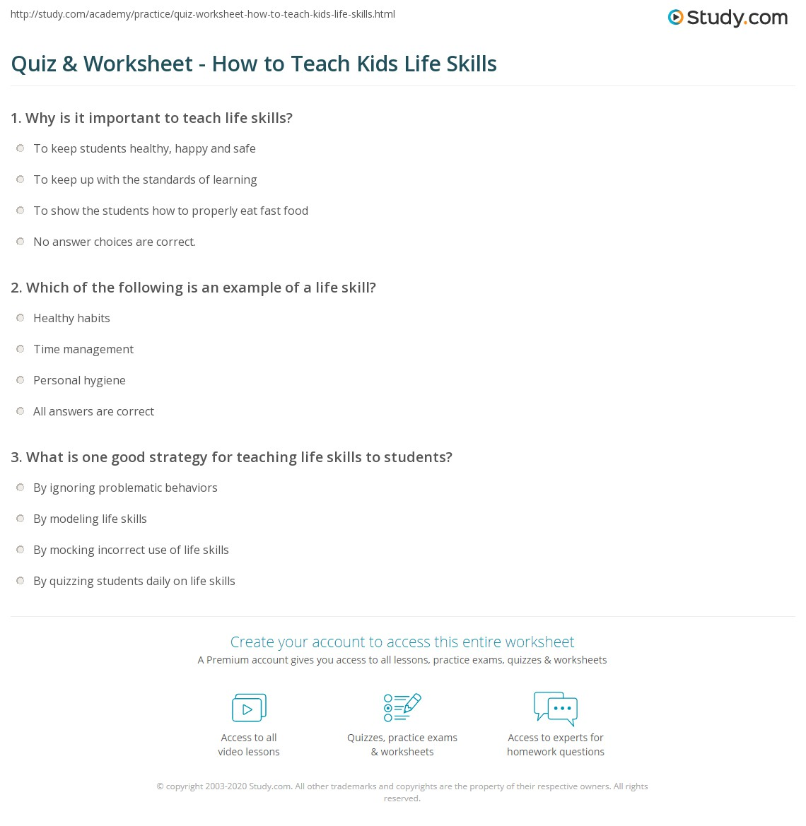 Worksheets Life Skills Math Worksheets quiz worksheet how to teach kids life skills study com print teaching children worksheet