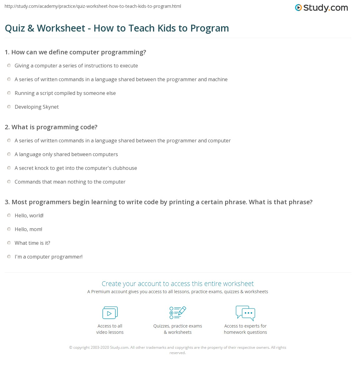 Quiz & Worksheet - How to Teach Kids to Program | Study com