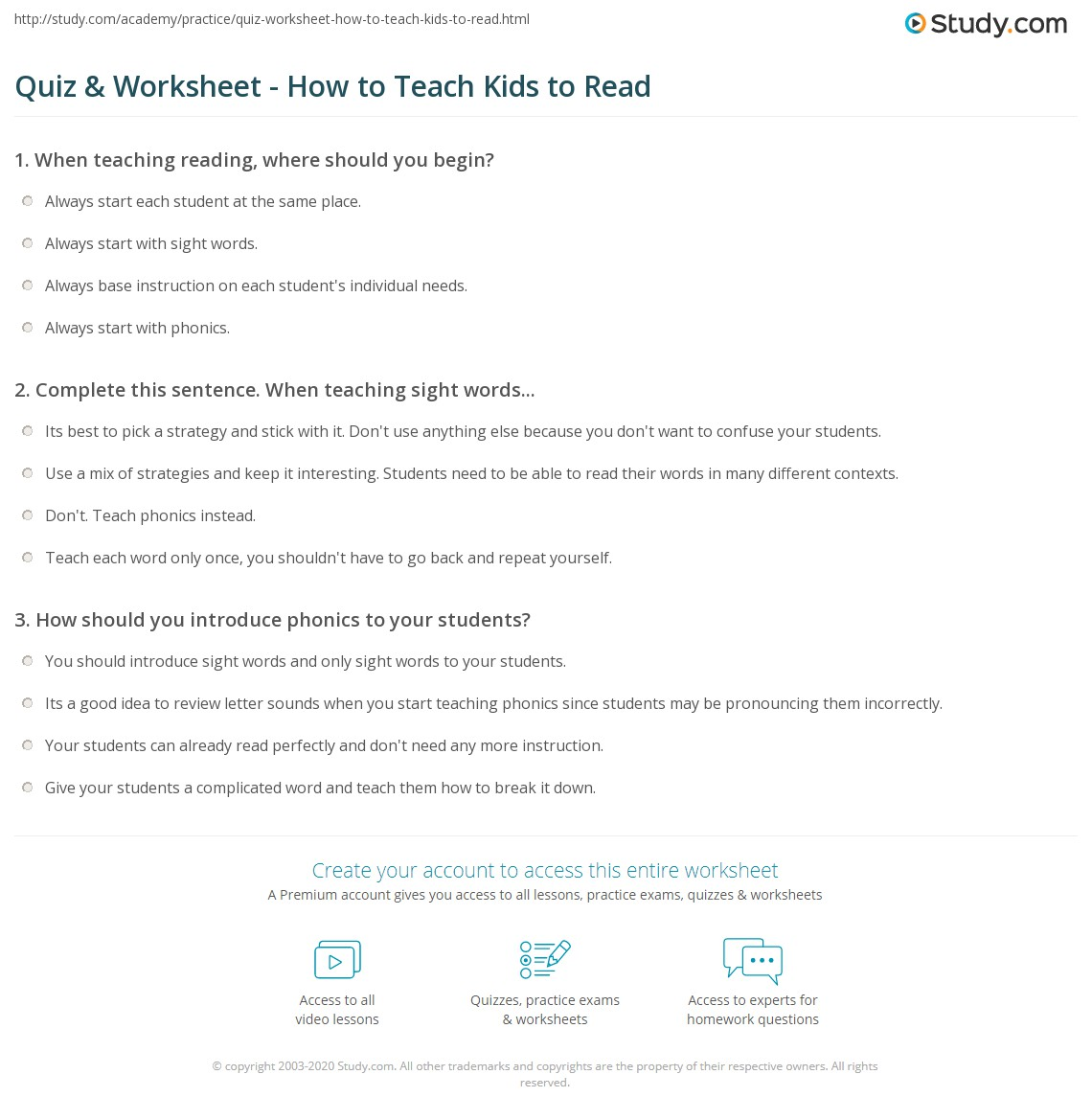 Quiz & Worksheet - How to Teach Kids to Read | Study.com