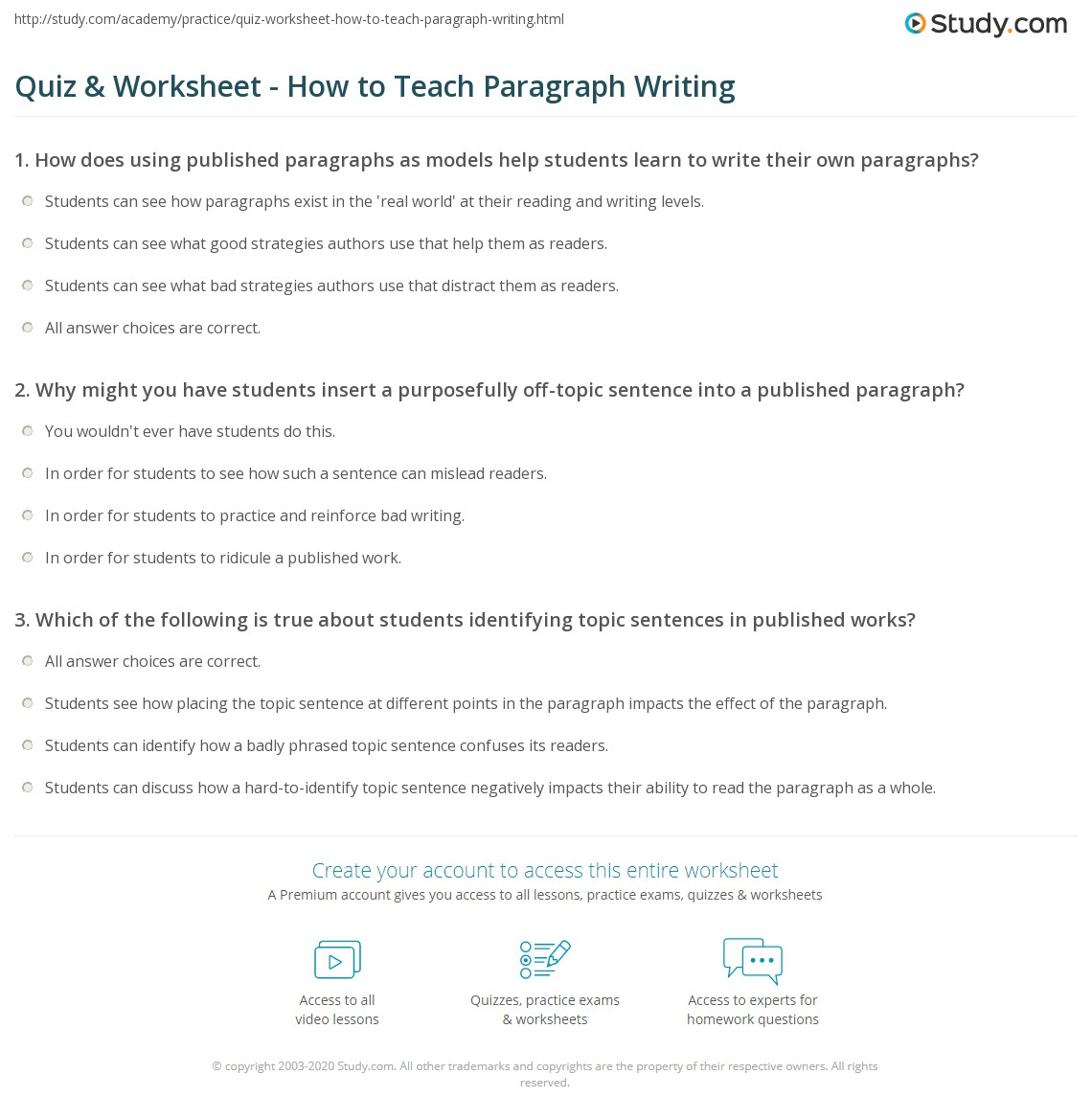 worksheet Writing Paragraphs Worksheets quiz worksheet how to teach paragraph writing study com print teaching worksheet