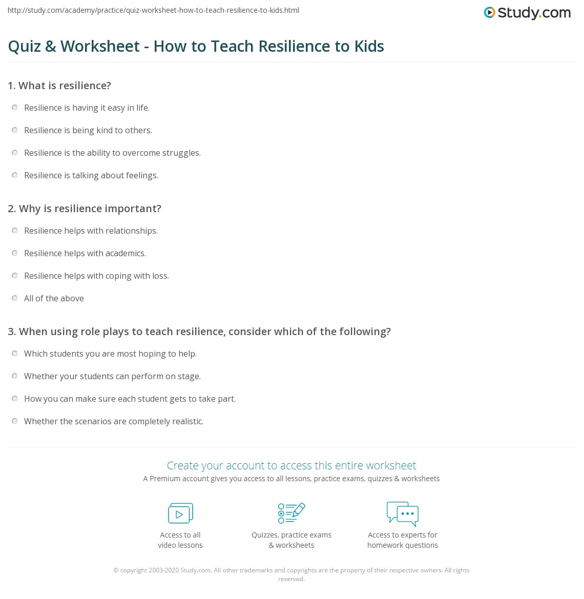 Quiz & Worksheet - How to Teach Resilience to Kids | Study.com
