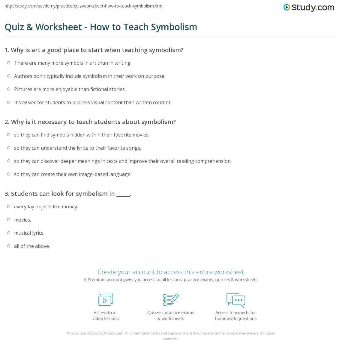 Quiz Worksheet How To Teach Symbolism Study