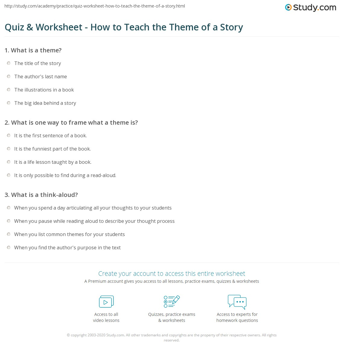 Quiz Worksheet How To Teach The Theme Of A Story