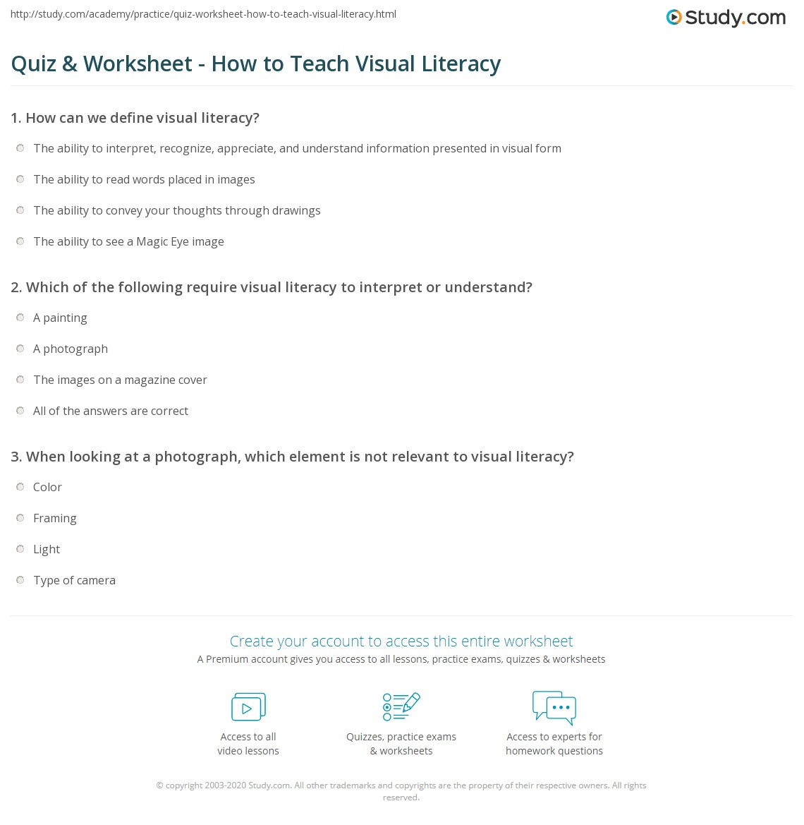 Quiz & Worksheet - How to Teach Visual Literacy | Study.com