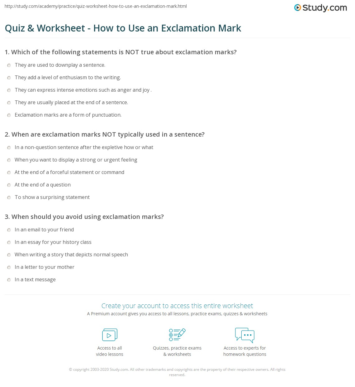 quiz worksheet how to use an exclamation mark. Black Bedroom Furniture Sets. Home Design Ideas