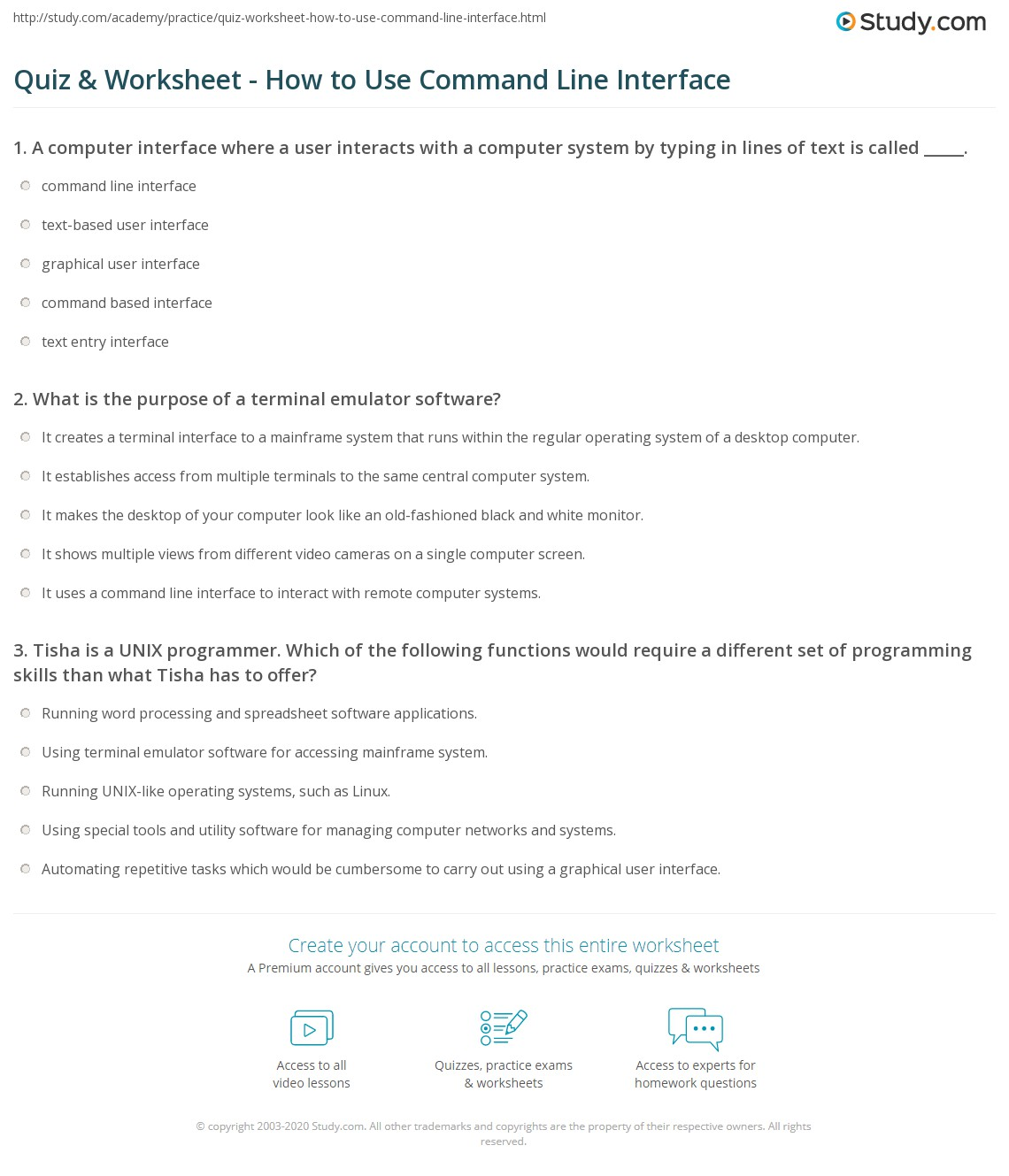 Quiz & Worksheet - How to Use Command Line Interface   Study com