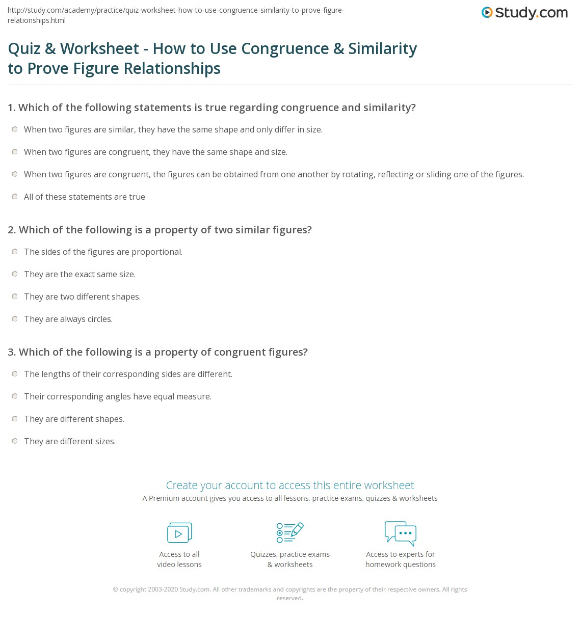 Quiz Worksheet How To Use Congruence Similarity To Prove
