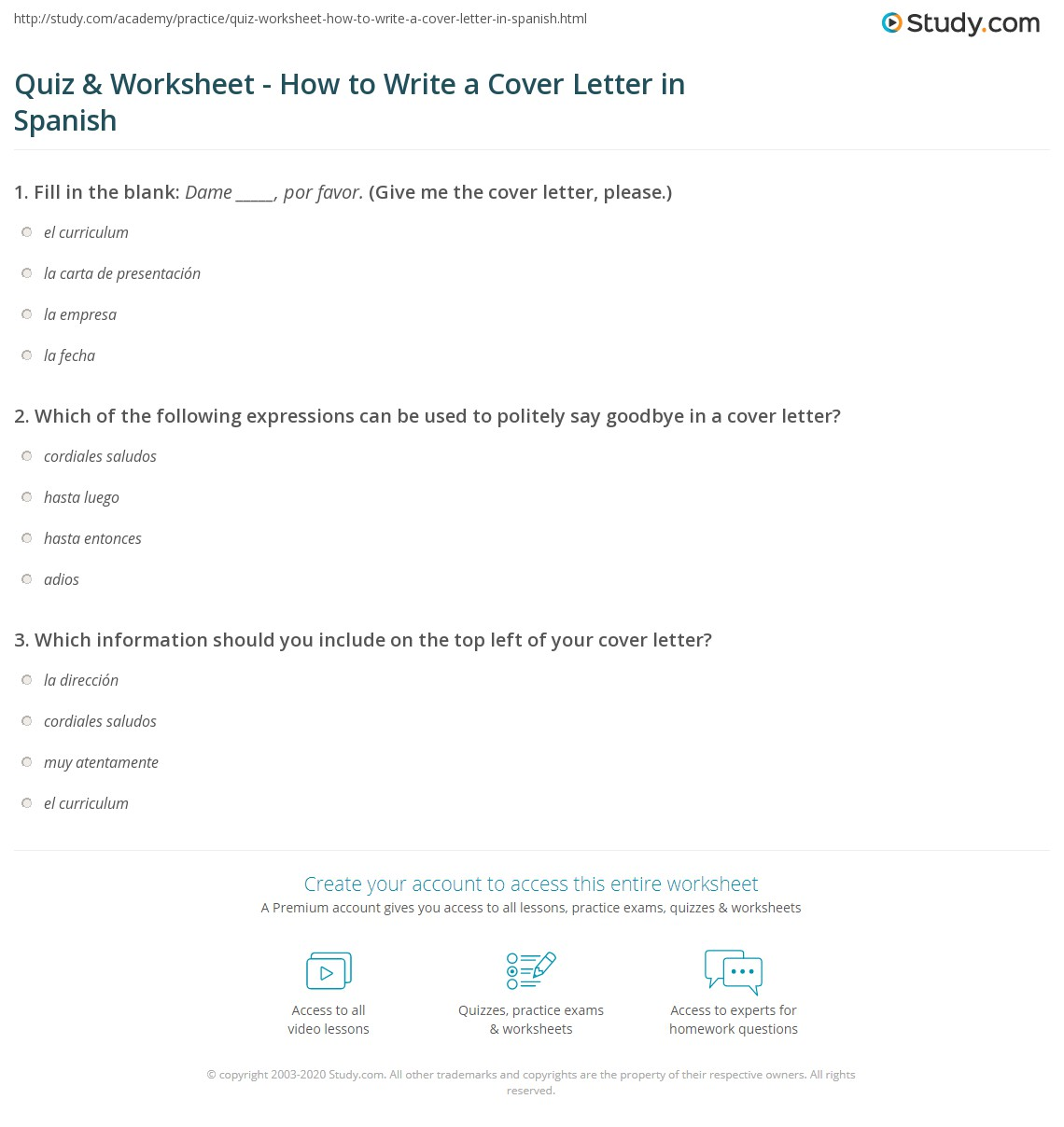 Quiz & Worksheet - How to Write a Cover Letter in Spanish | Study com