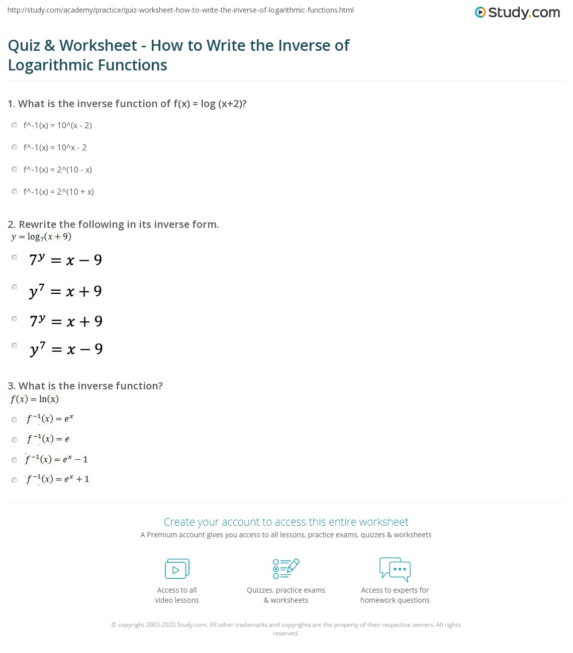 Quiz & Worksheet - How to Write the Inverse of Logarithmic Functions ...