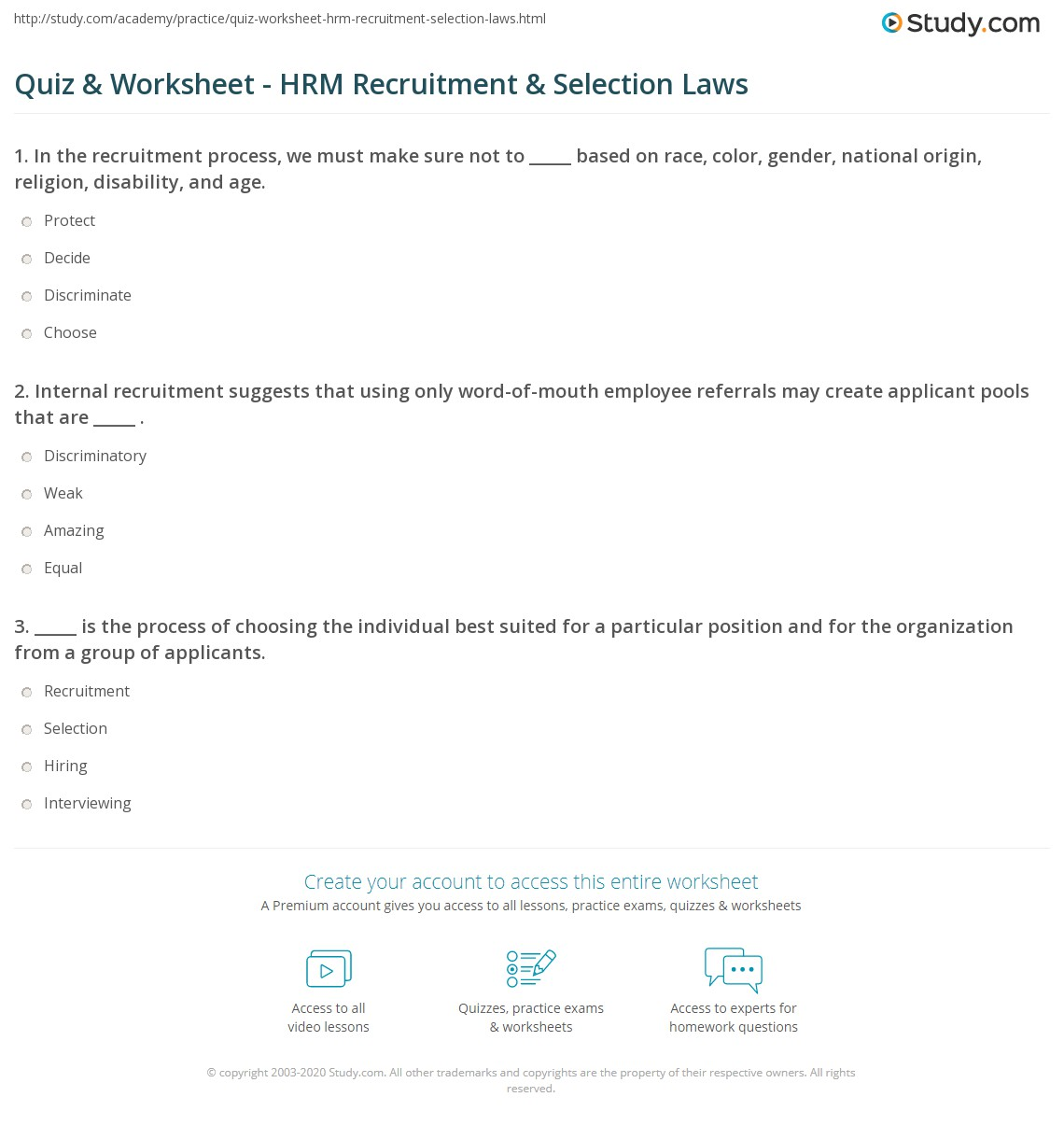 Quiz & Worksheet - HRM Recruitment & Selection Laws | Study com