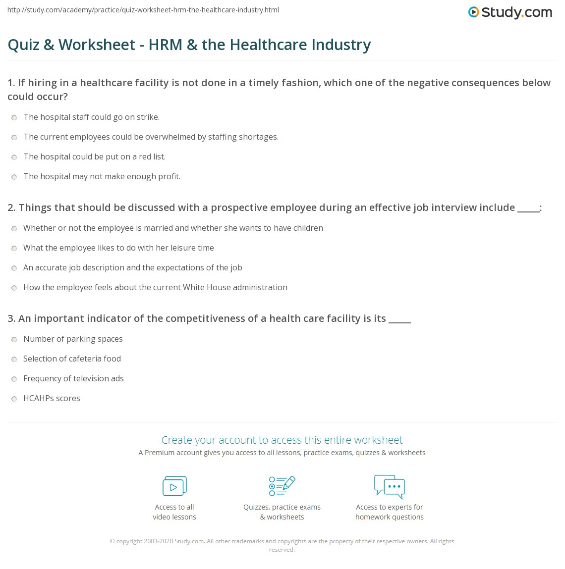 Quiz & Worksheet - HRM & the Healthcare Industry | Study com