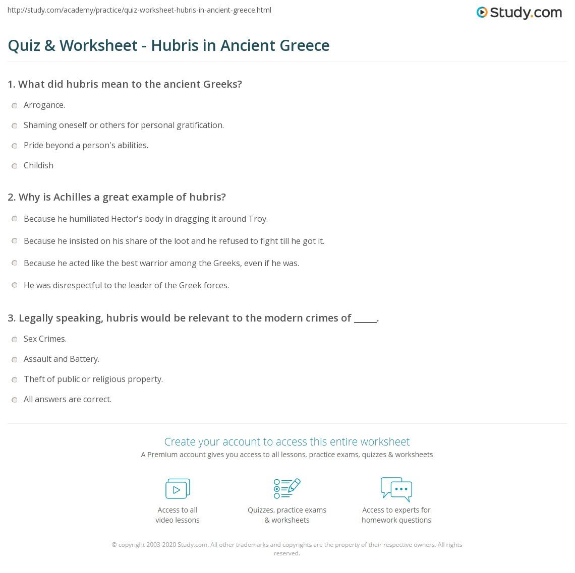 Quiz & Worksheet - Hubris in Ancient Greece | Study.com