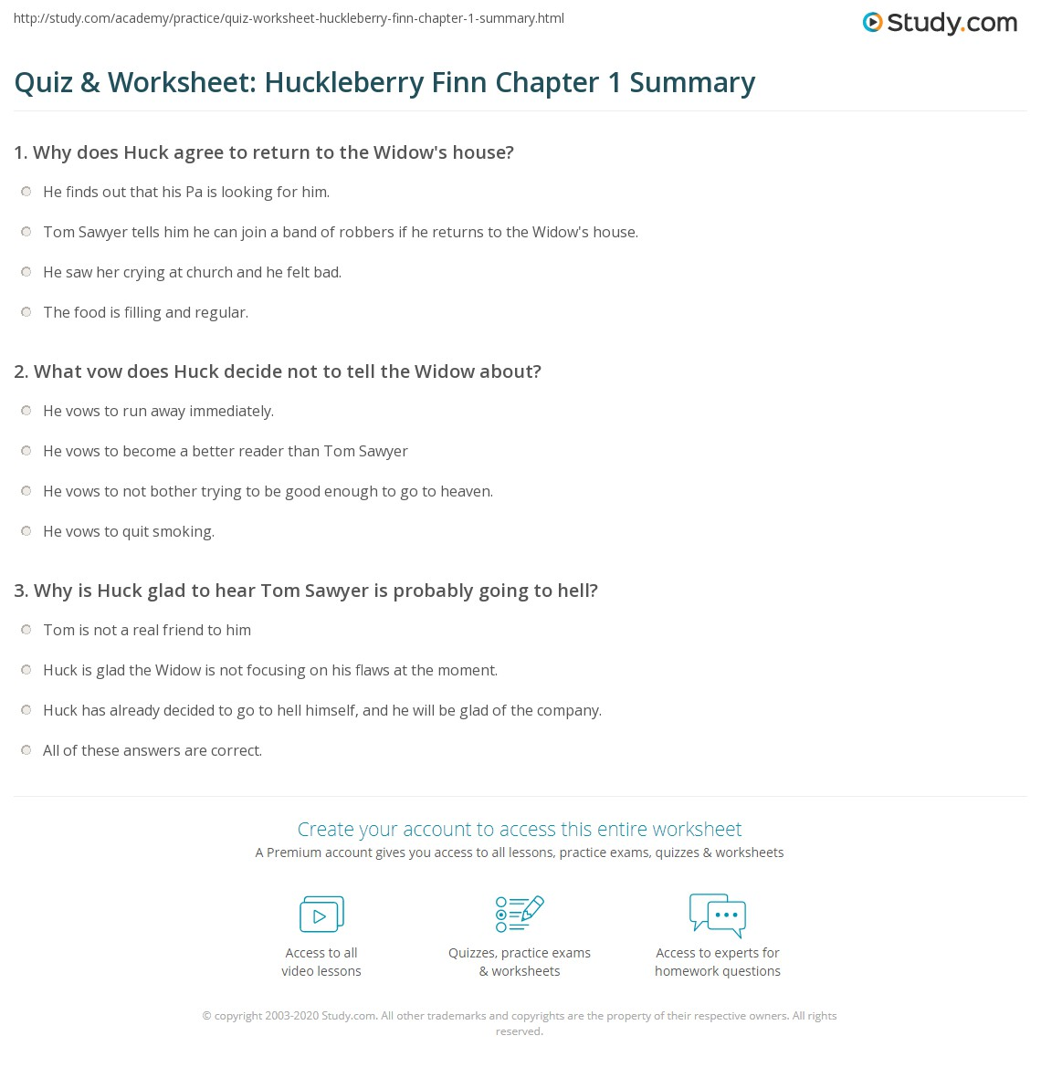 Quiz & Worksheet: Huckleberry Finn Chapter 1 Summary | Study.com