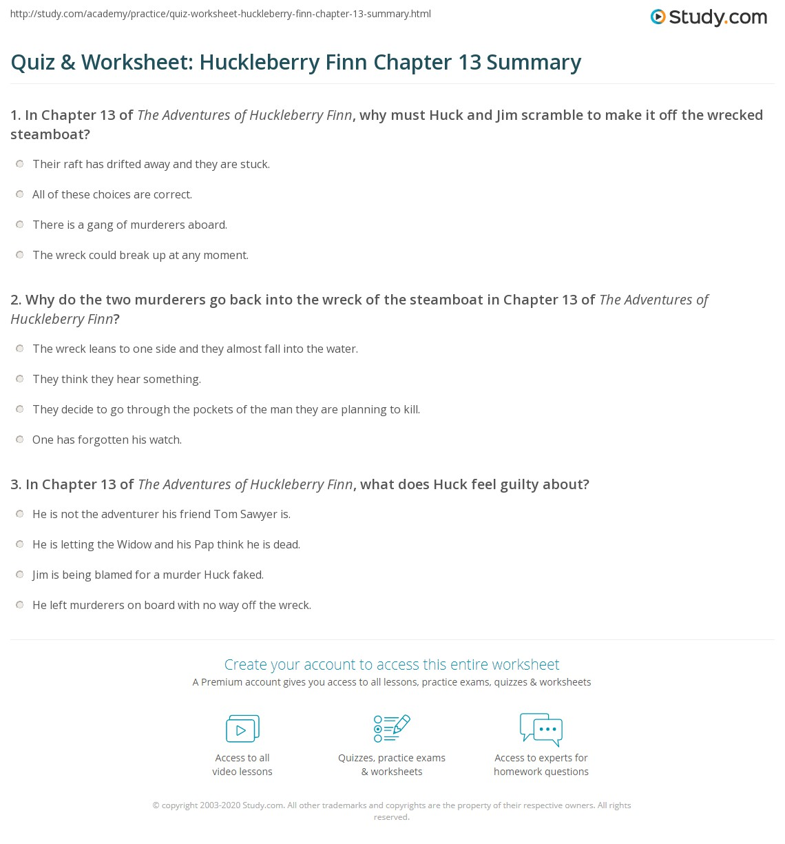 quiz worksheet huckleberry finn chapter summary com print the adventures of huckleberry finn chapter 13 summary worksheet