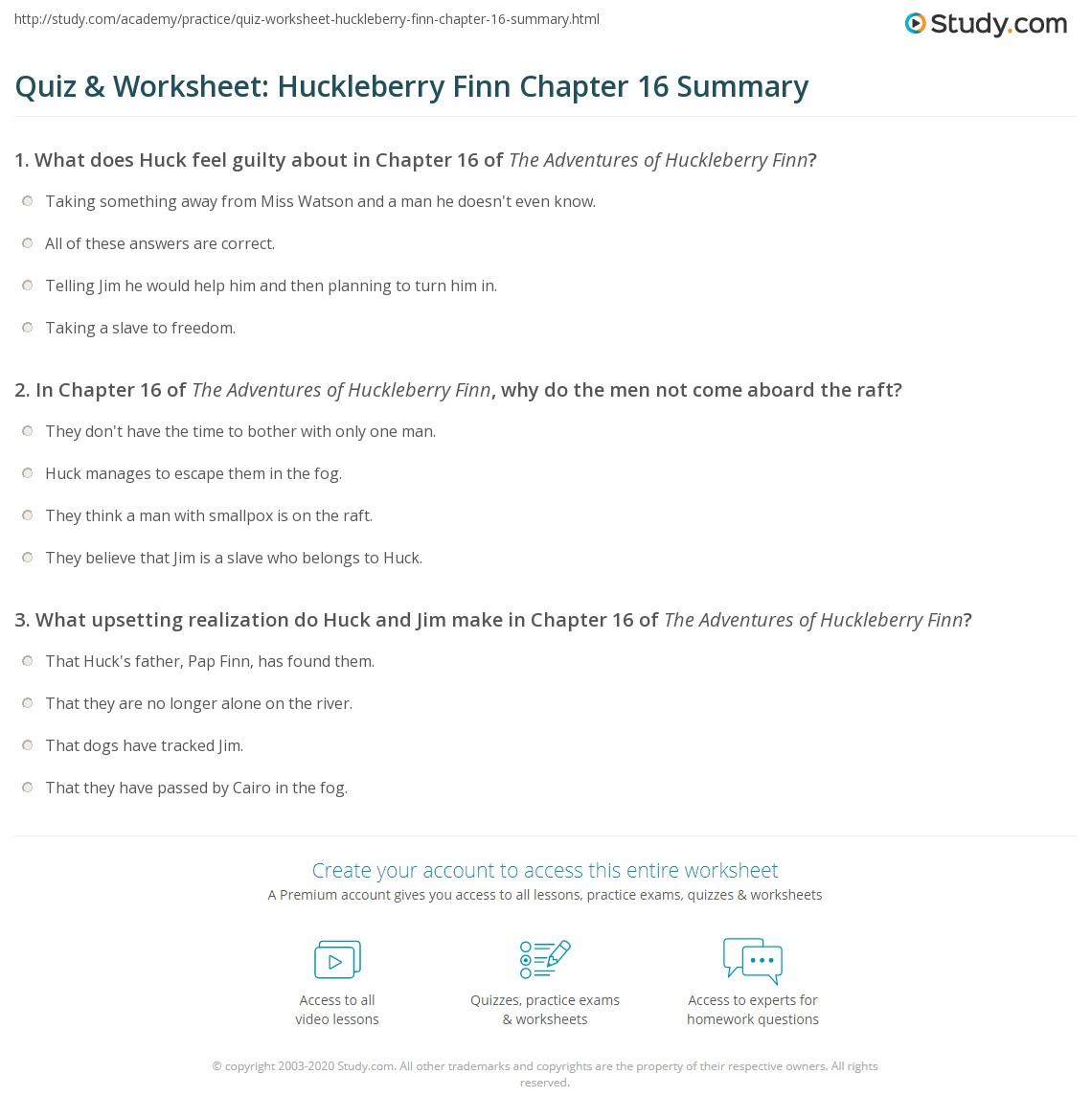 Quiz worksheet huckleberry finn chapter 16 summary study print the adventures of huckleberry finn chapter 16 summary worksheet ccuart Image collections