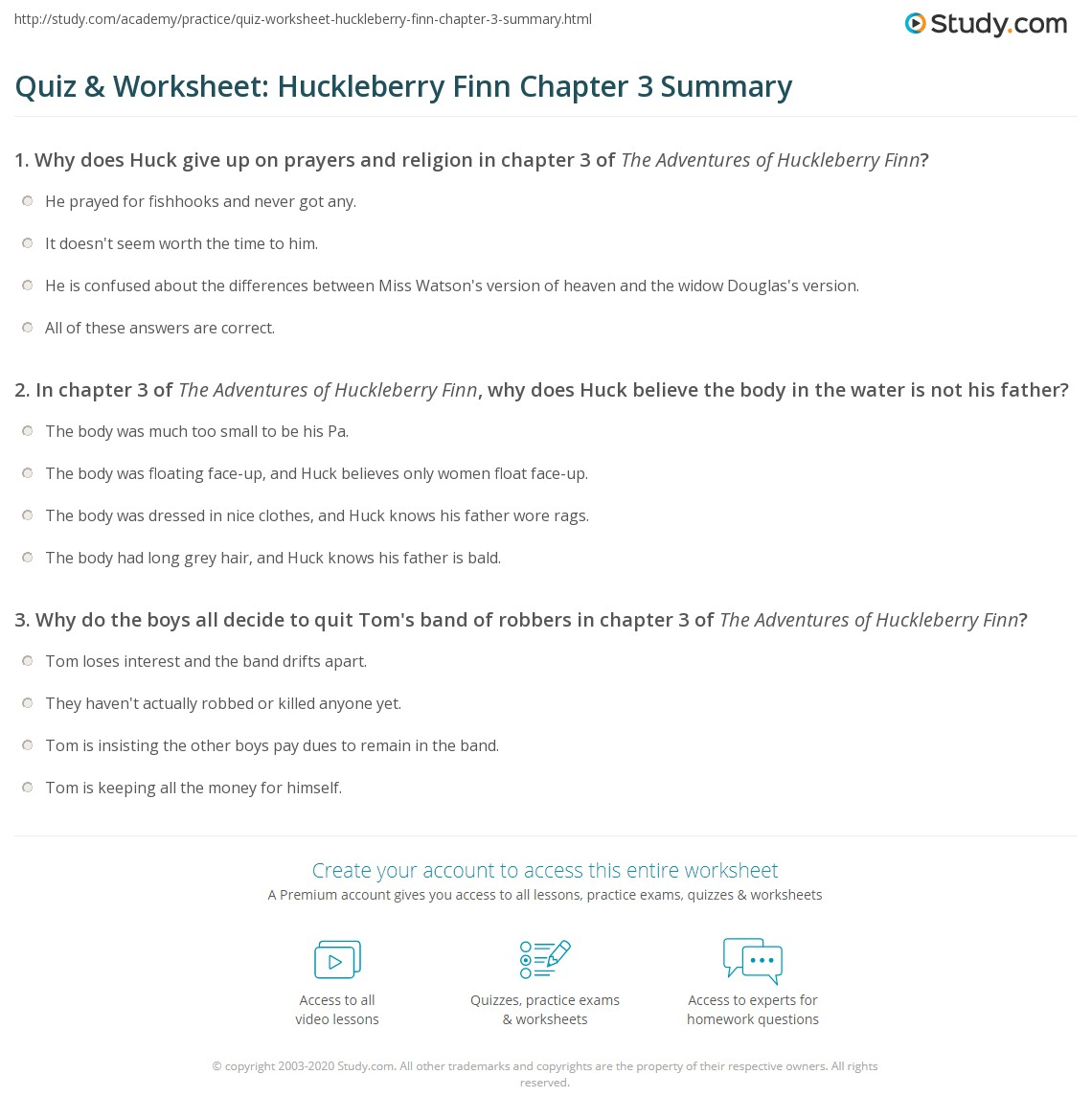 Print The Adventures of Huckleberry Finn Chapter 3 Summary Worksheet