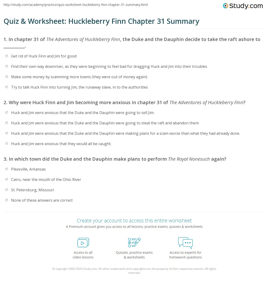 Quiz Amp Worksheet Huckleberry Finn Chapter 31 Summary