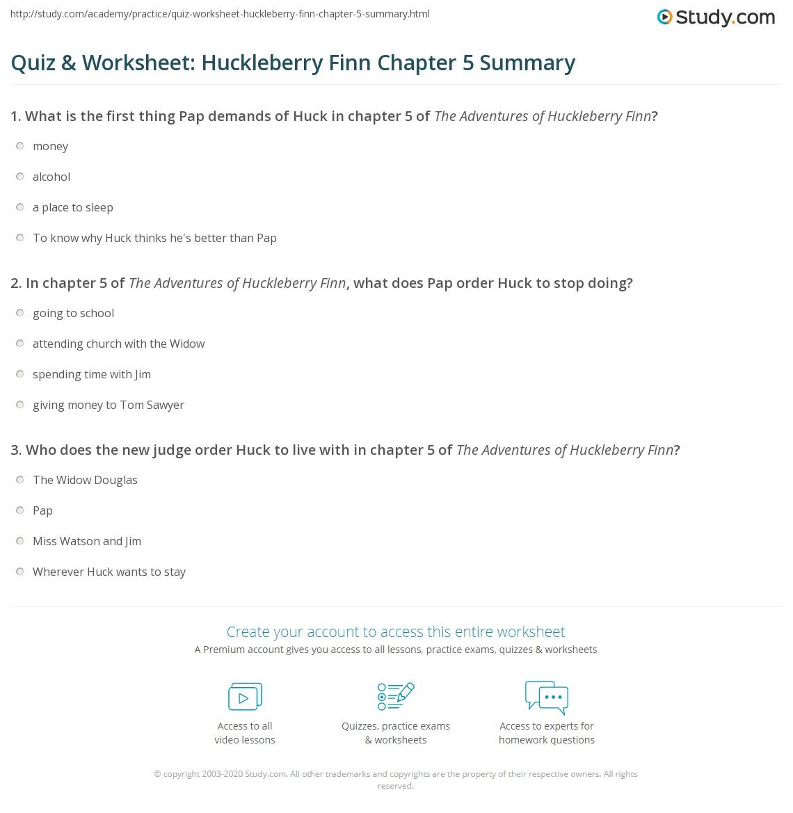 quiz worksheet huckleberry finn chapter 5 summary study com rh study com Tom Sawyer Summary Tom Sawyer Cliff Notes