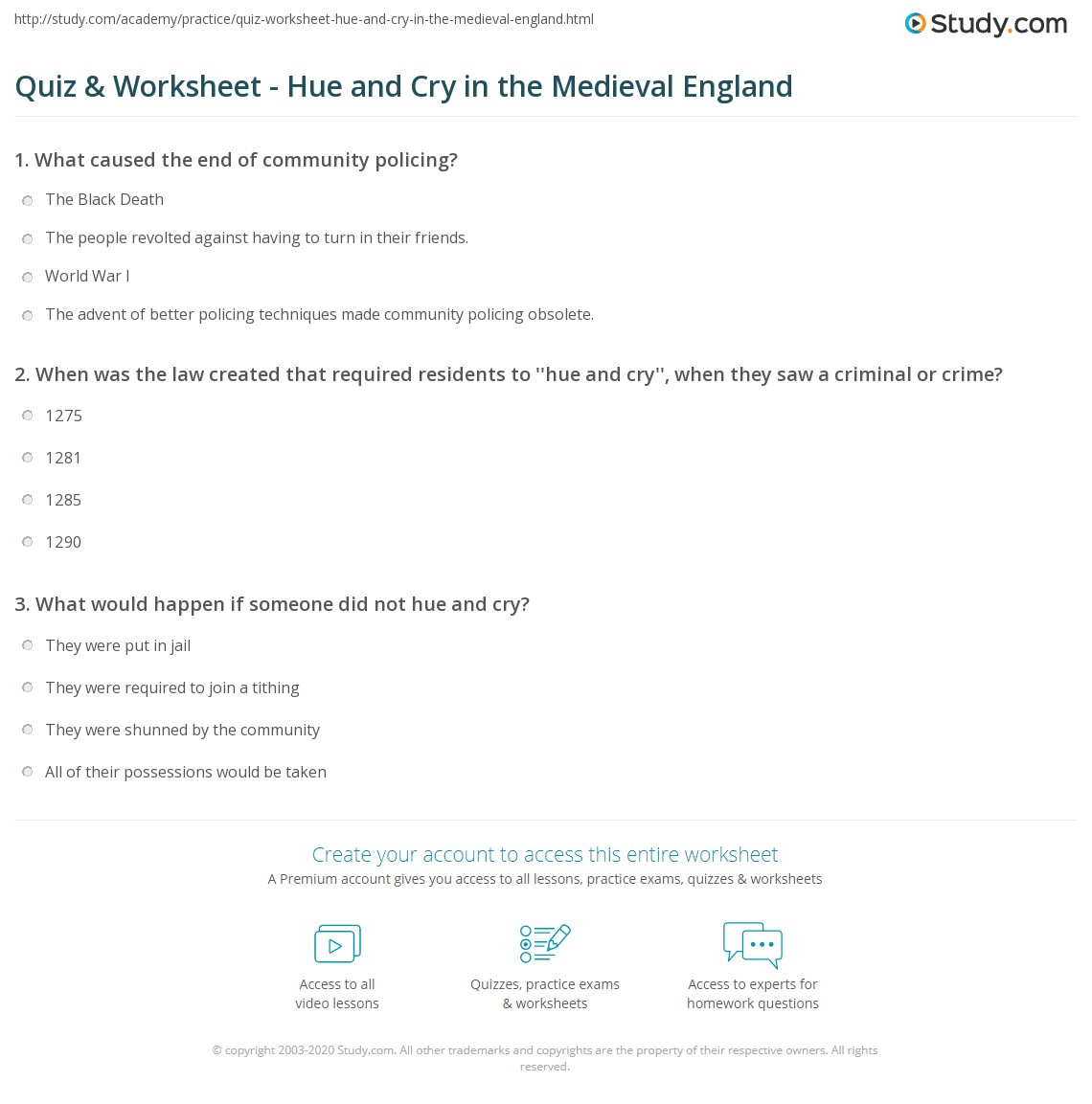 quiz & worksheet - hue and cry in the medieval england | study