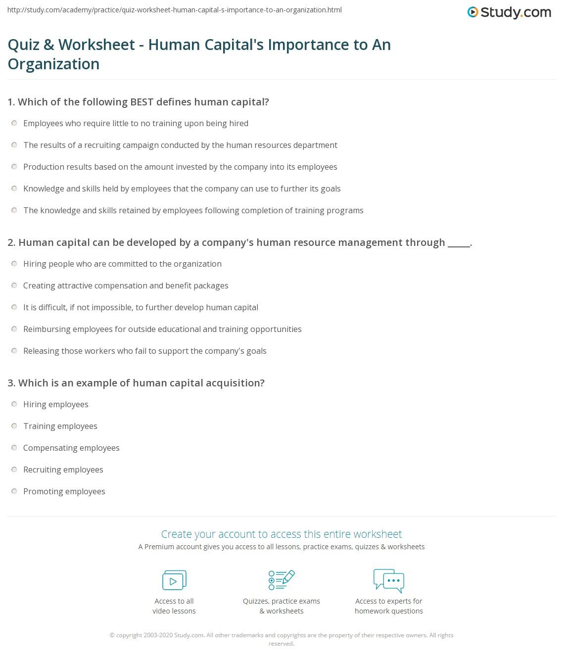 Quiz Worksheet Human Capital S Importance To An Organization