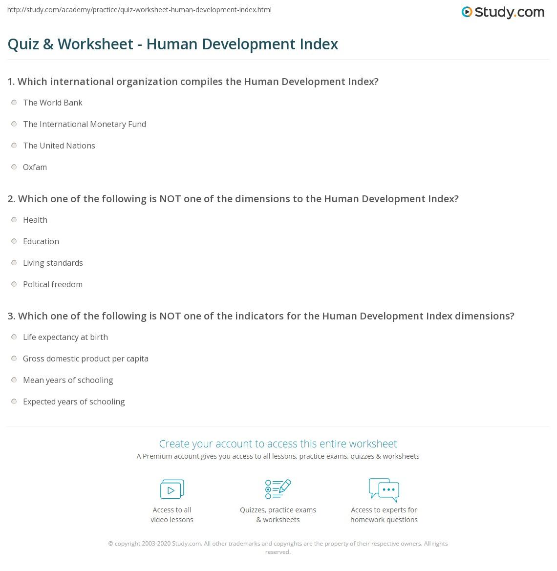 Quiz Worksheet Human Development Index Study