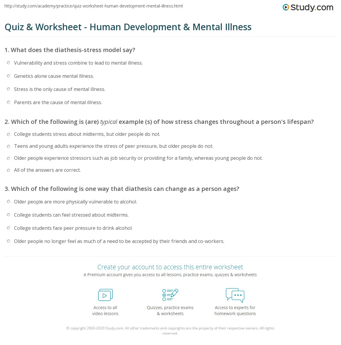 Printables Mental Illness Worksheets quiz worksheet human development mental illness study com print lifespan and vulnerability to worksheet