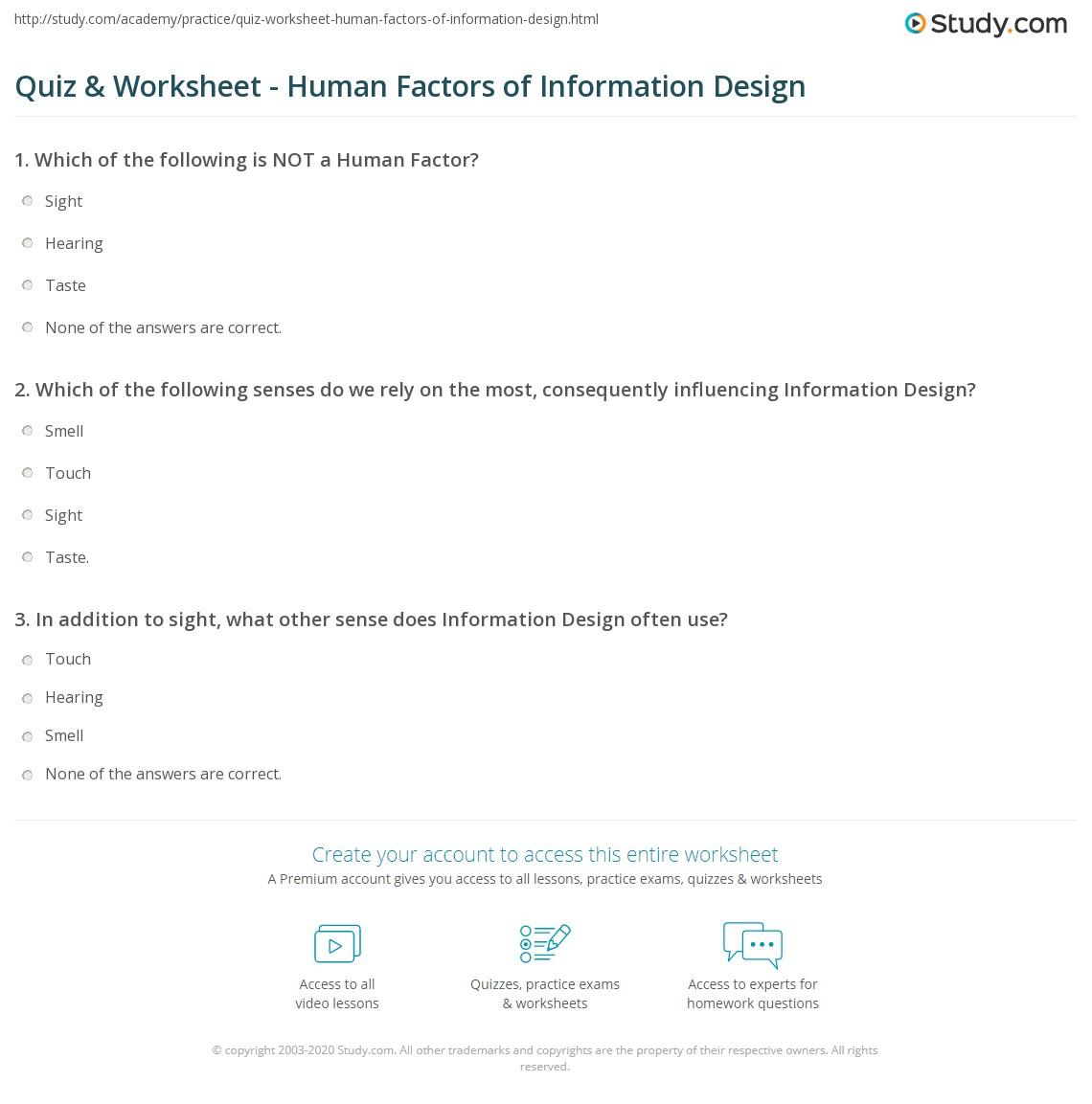 Quiz Worksheet Human Factors Of Information Design Study Com