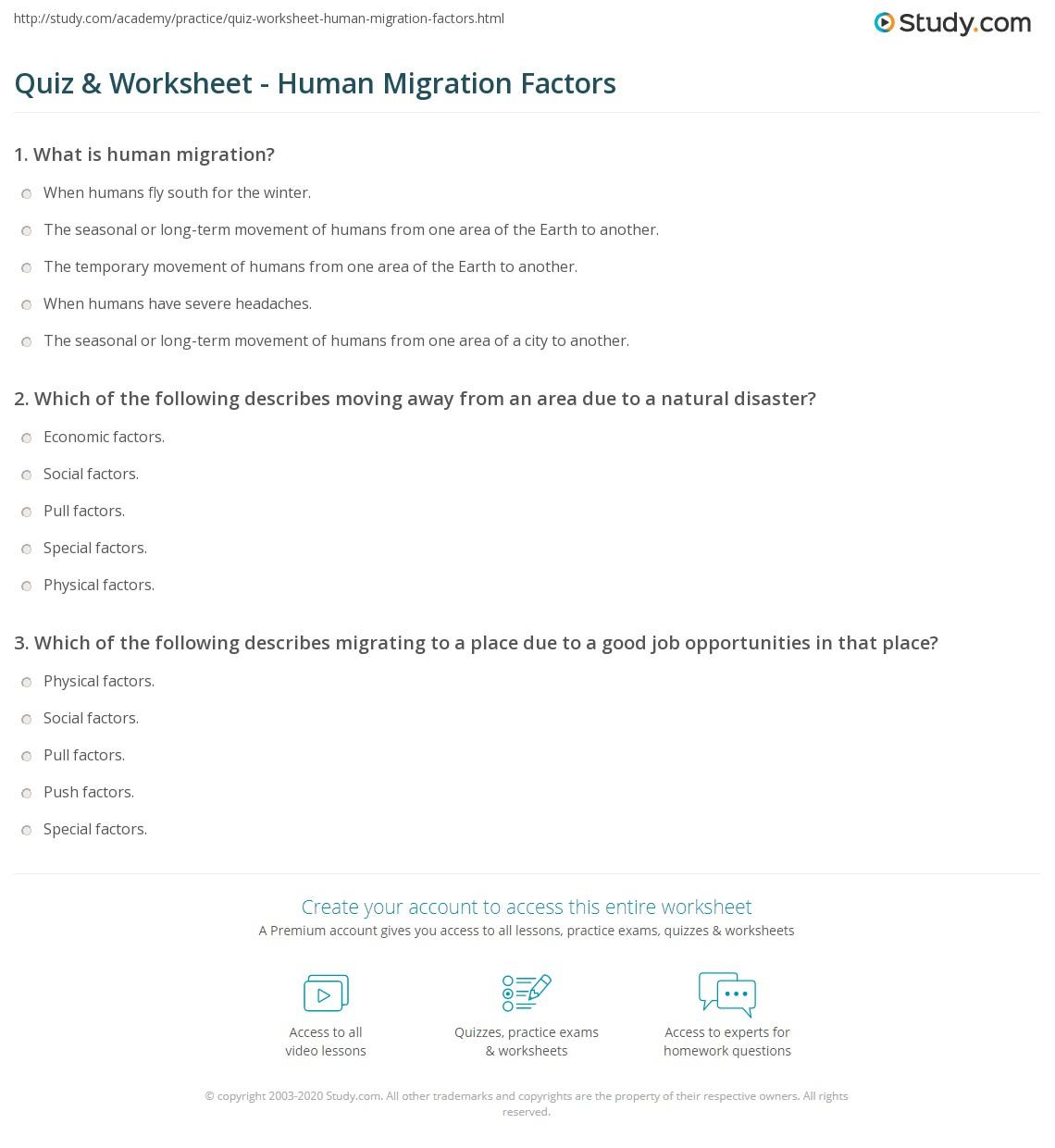 Quiz & Worksheet - Human Migration Factors | Study com