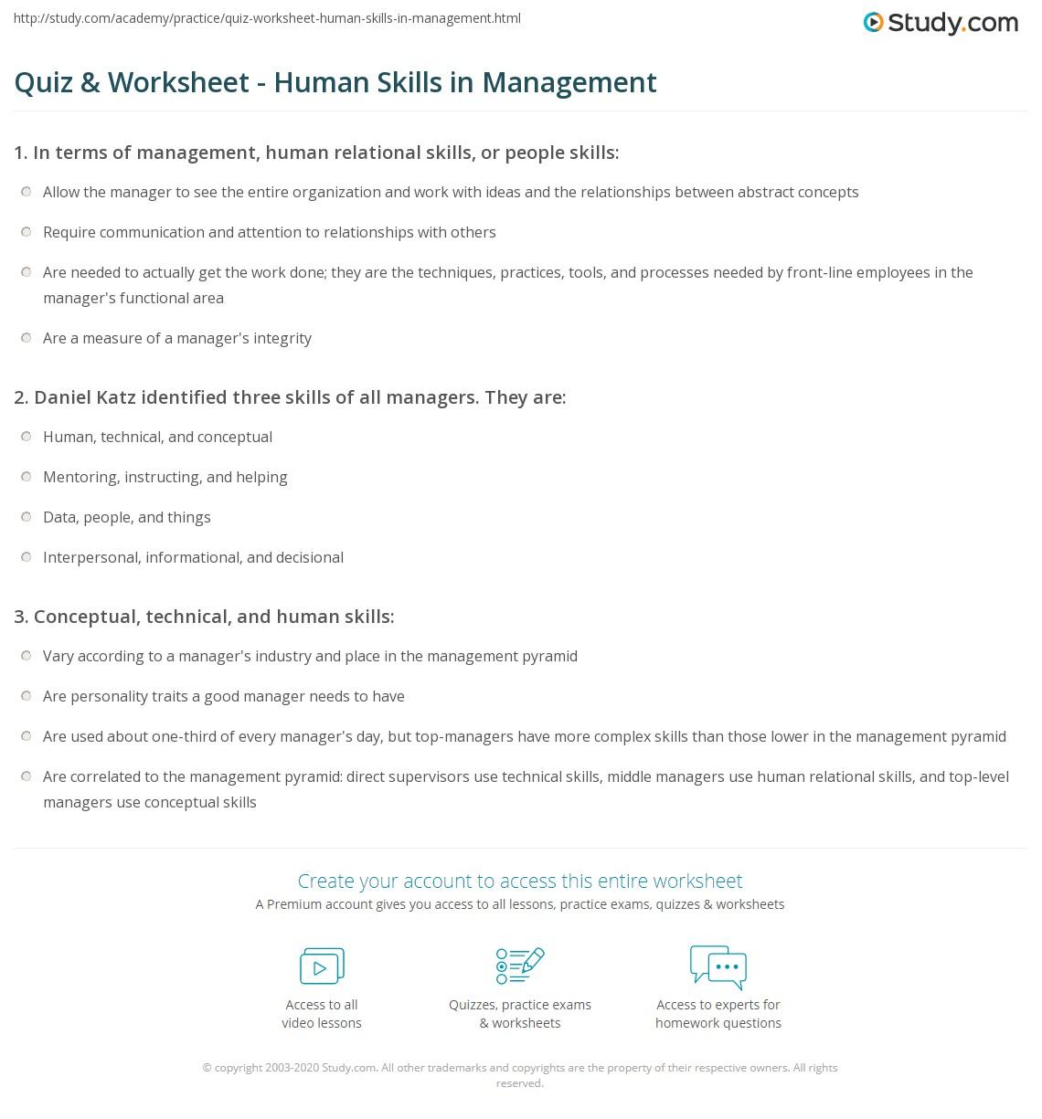 Quiz & Worksheet - Human Skills in Management | Study com