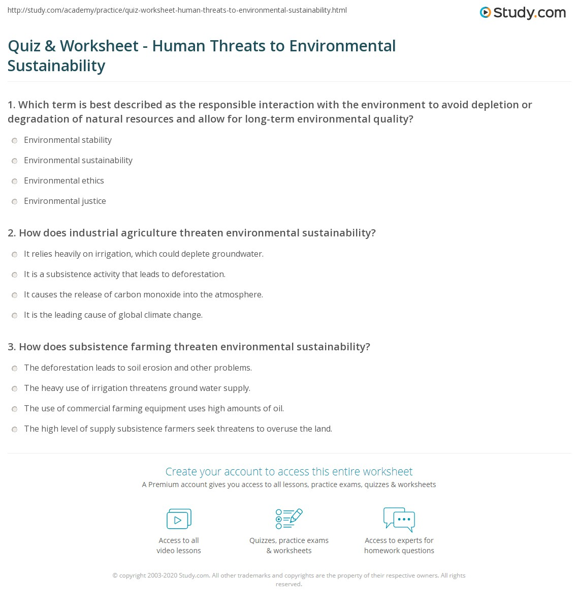quiz worksheet human threats to environmental sustainability  print human behaviors that threaten environmental sustainability worksheet