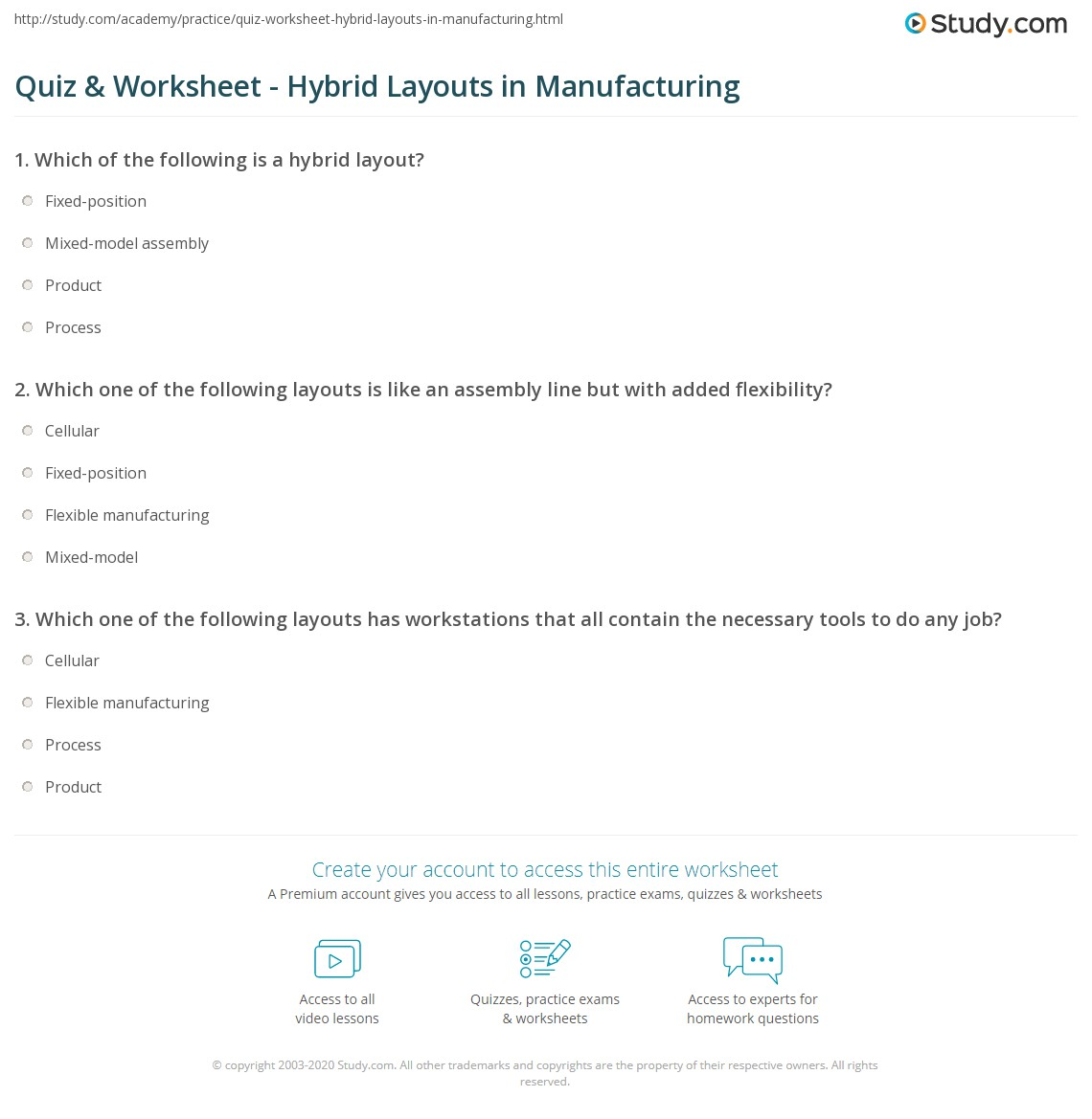 quiz worksheet hybrid layouts in manufacturing study com
