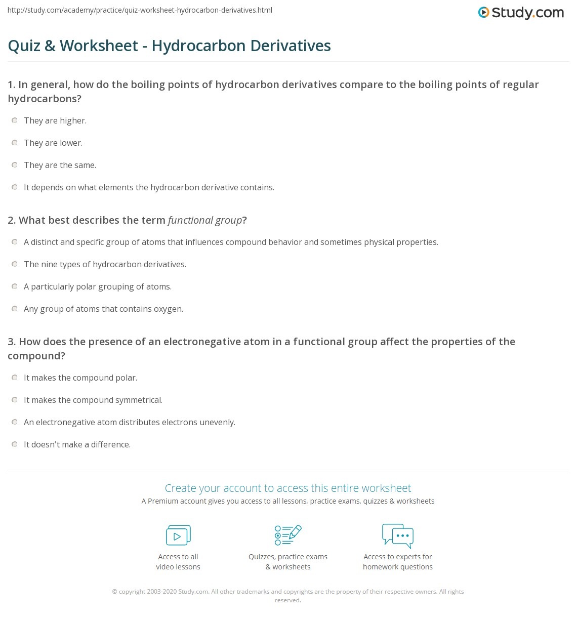 worksheet Derivative Practice Worksheet quiz worksheet hydrocarbon derivatives study com print definition properties worksheet