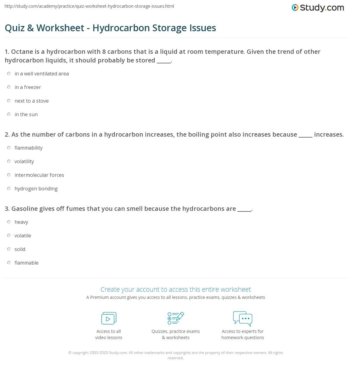 Quiz & Worksheet - Hydrocarbon Storage Issues   Study com