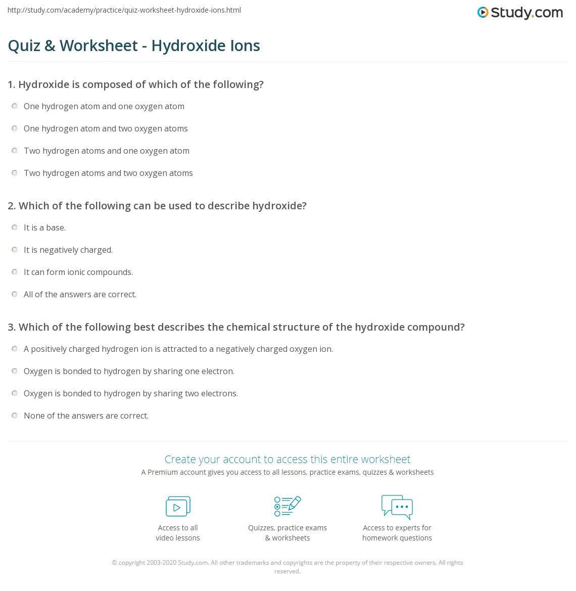 Quiz worksheet hydroxide ions study print hydroxide ion definition formula worksheet urtaz Images