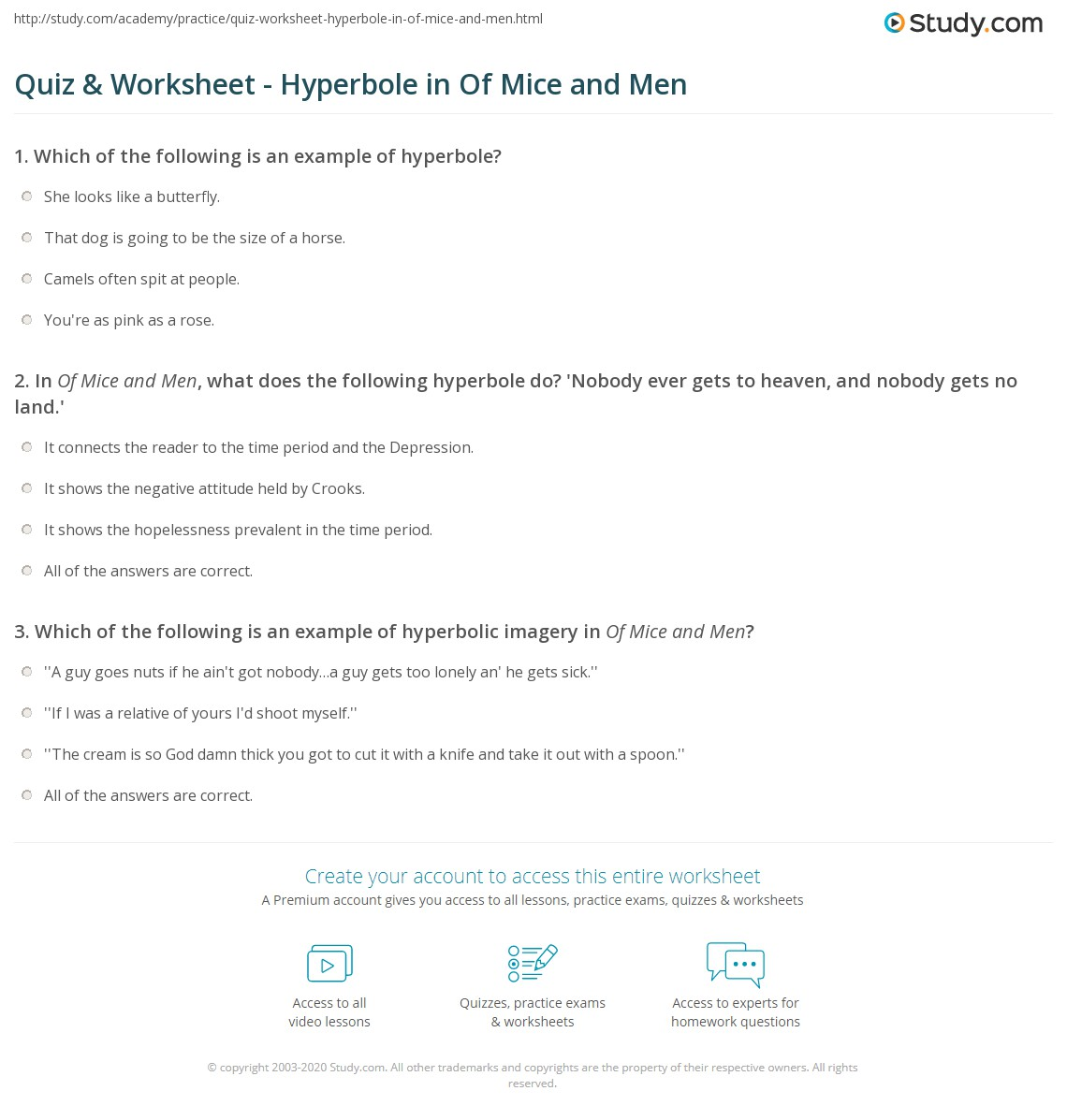 Quiz Worksheet Hyperbole In Of Mice And Men Study