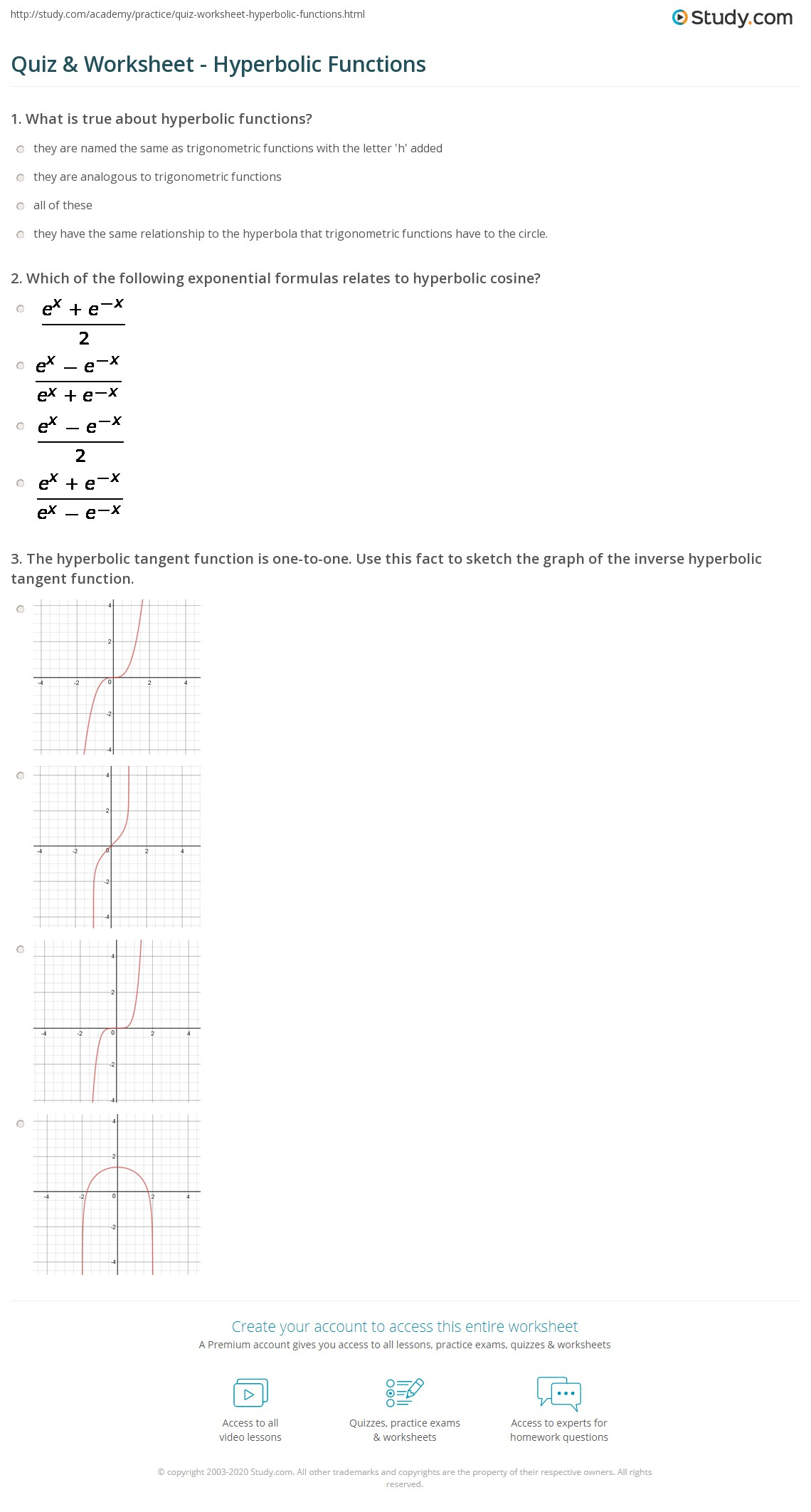 Quiz Worksheet Hyperbolic Functions Study