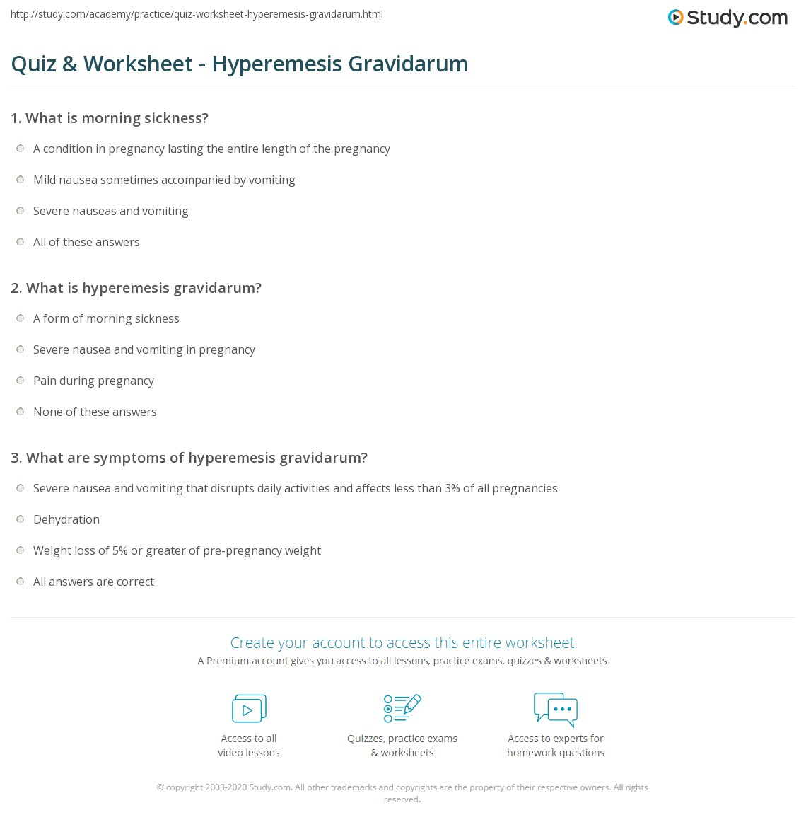 Quiz Worksheet Hyperemesis Gravidarum Studycom