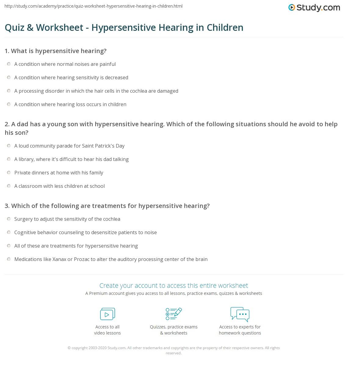 worksheet Hearing Worksheet quiz worksheet hypersensitive hearing in children study com print causes symptoms worksheet