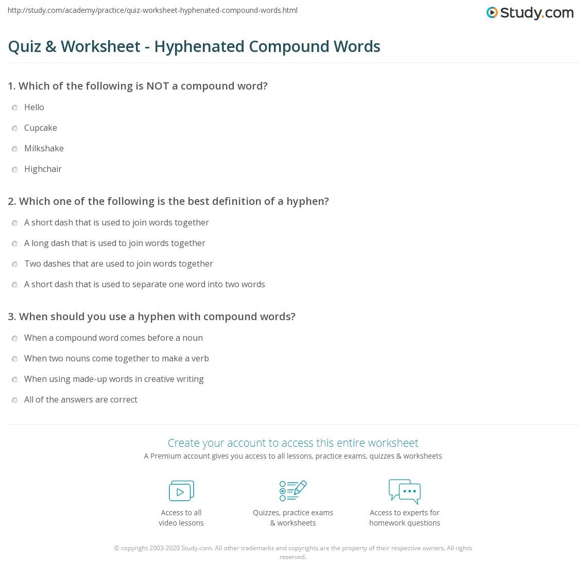 Quiz Worksheet Hyphenated Compound Words – Compound Worksheets